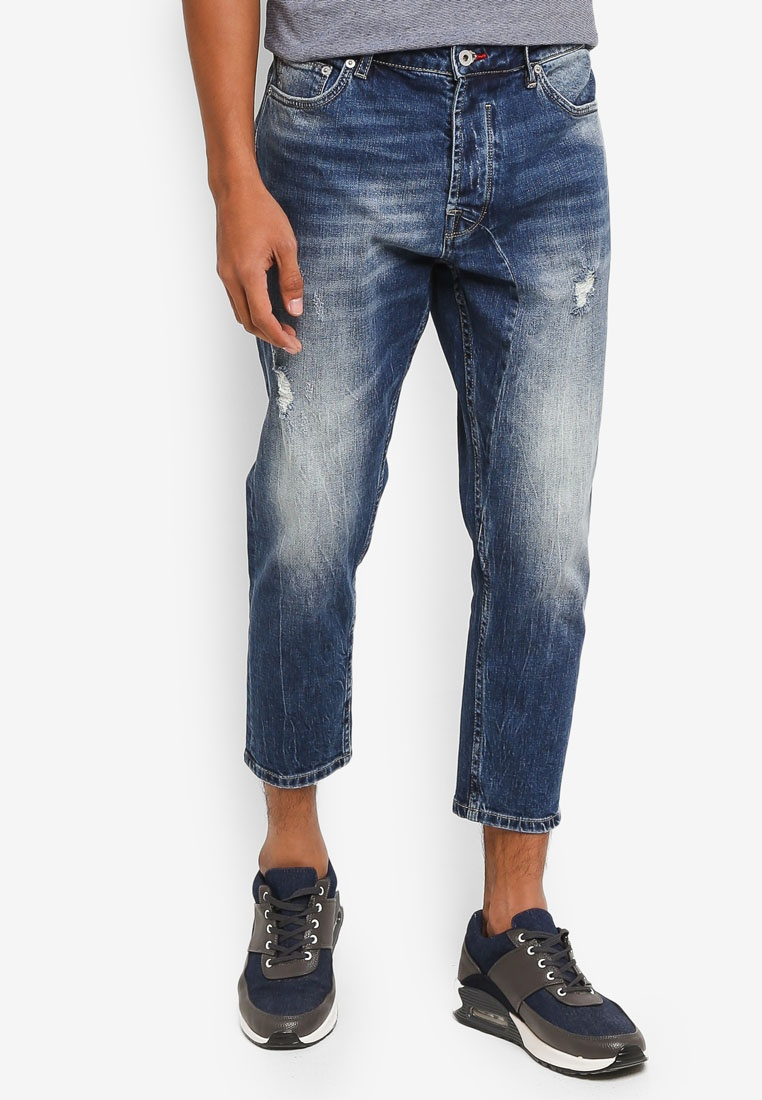 Distressed Frank Slim Cropped Fit Solid Stretch Blue Jeans 6xCAxq7