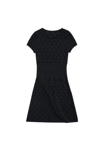 KLAPS 黑色 鏤空針織連身裙 53154AAB16180BGS_1