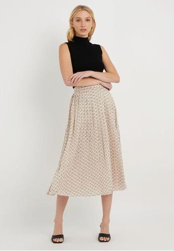 FORCAST beige FORCAST Diora Pleat Skirt 1475EAA0E8AF95GS_1
