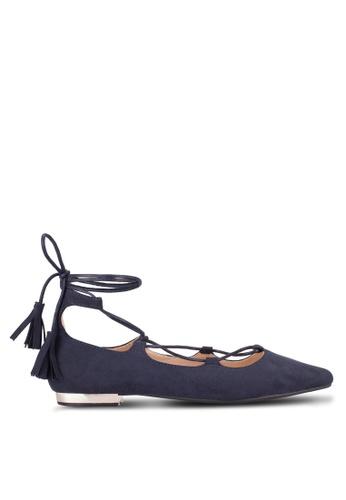 ZALORA 海軍藍色 Lace Up Ballerinas 158C1SH1797C80GS_1
