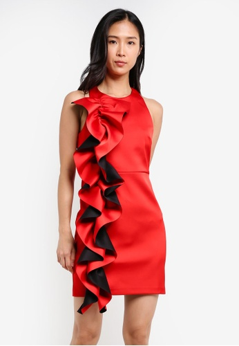 River Island red Oversize Frill Bodycon Dress RI009AA0S9TIMY_1