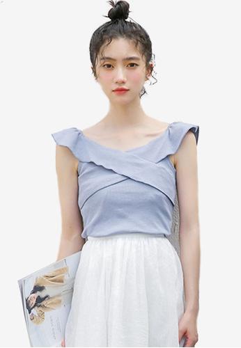 Shopsfashion blue Cross Ruffles Blouse A018DAAF930B42GS_1