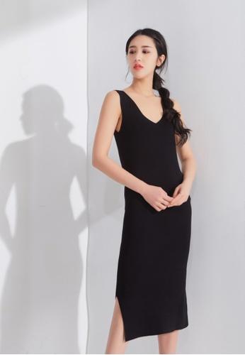 Zafiti black V Neckline Knitted Dress 16233AAE673F23GS_1