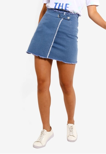 0421f506 Shop Something Borrowed Frayed Hem Wrap Denim Skirt Online on ZALORA  Philippines