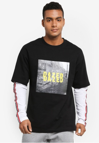 Factorie 黑色 and 白色 Double Layer Fleece Tee 56C4BAA9332CB3GS_1