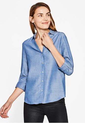 Esprit blue Woven Long Sleeve Shirt ES374AA0S2PMMY_1