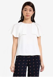 ZALORA white Essential Waterfall Ruffle Front Top D8715ZZ301BBE4GS_1