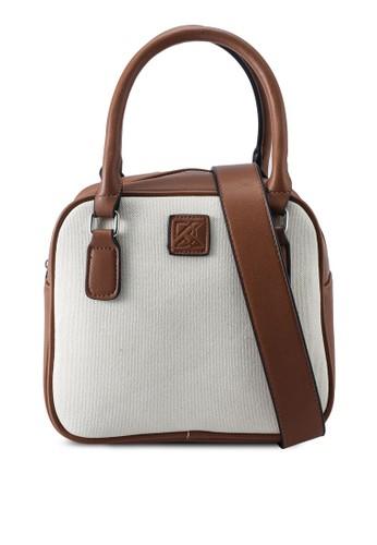 Keddo white and brown Rosamond Sling Bag 33C45AC127D4C7GS_1