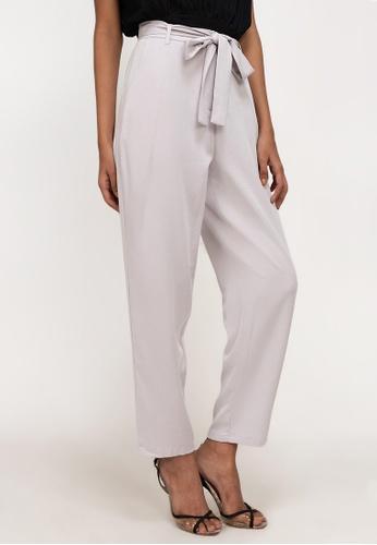 ZALORA WORK purple Pleat Belted Pants 4E255AA3AC72EEGS_1