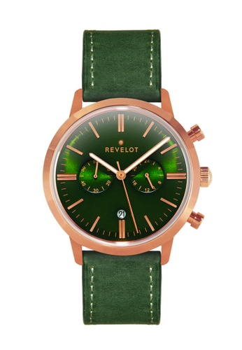 REVELOT green R1 CHRONO - GREEN/ROSEGOLD WITH 22MM GREEN SUEDE LEATHER B44A3AC7F66A97GS_1