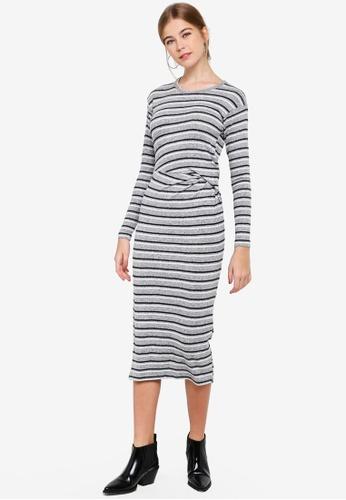9958a4e3a951d0 Buy TOPSHOP Stripe Ruched Midi Dress Online on ZALORA Singapore