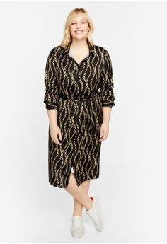 1a8167603a05 Violeta by MANGO grey Plus Size Scarf-Print Long Dress 408F1AA4886643GS_1