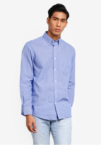 OVS 藍色 長袖印花襯衫 8F4C6AABD381B9GS_1