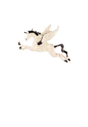 Glamorousky silver Simple and Creative Enamel White Pegasus Brooch 5ED09ACFA13440GS_1