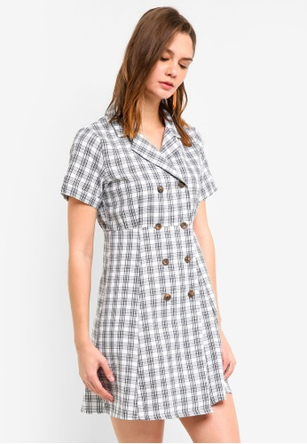 Haute Kelly white Ki Checkered Dress F9535AAC991645GS_1