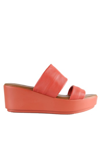Hush Puppies red and pink Hush Puppies TARA 2 STRAPS In Coral HU319SH0H9E9SG_1
