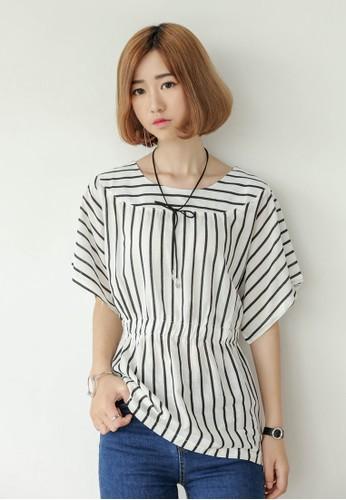 esprit hkSaniya 條紋腰飾短袖上衣, 服飾, 上衣