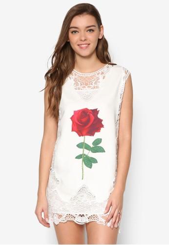 Lesley's 玫瑰印花側蕾esprit 見工絲連身裙, 服飾, 洋裝