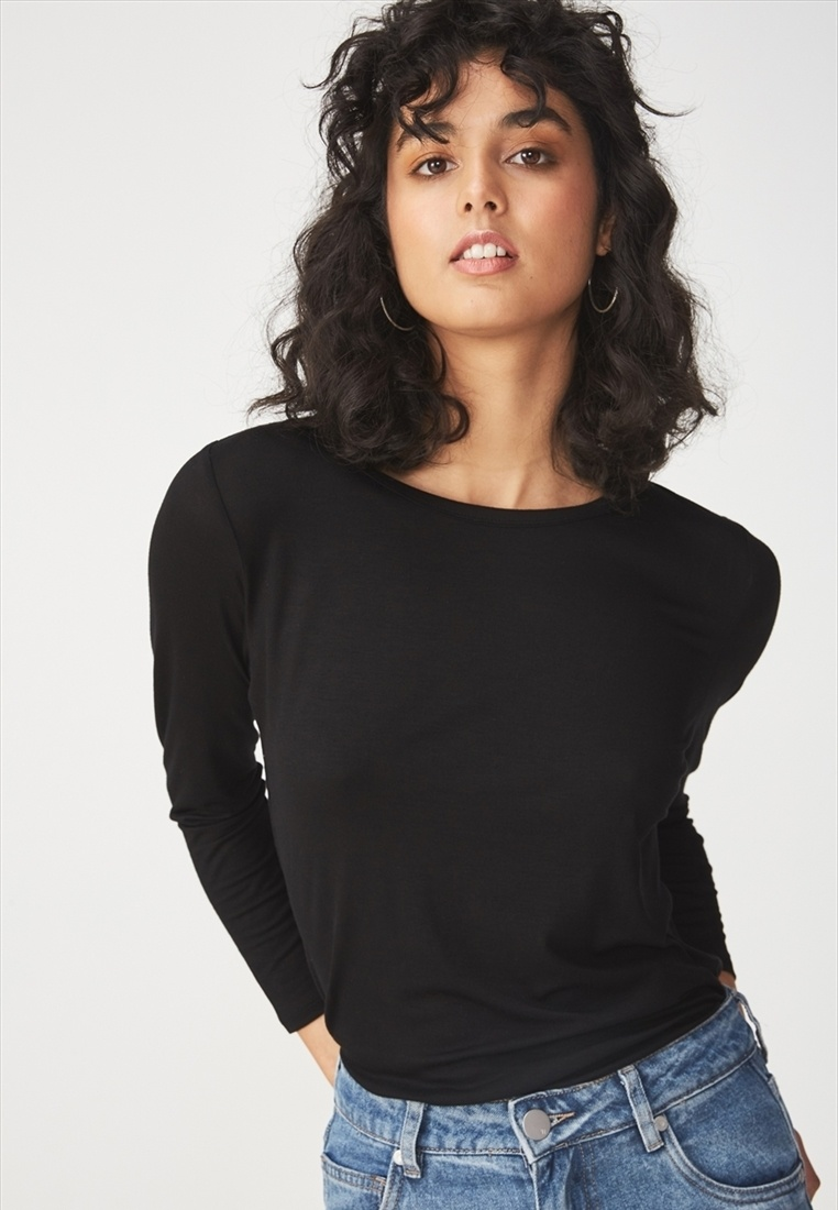 Top On Cotton Long Sleeve Black Kathleen x6xdgqwI7