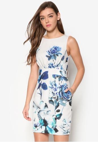 背面esprit 折扣繫帶花卉洋裝, 服飾, 洋裝