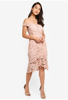 452981ed9164 30% OFF MISSGUIDED Floral Lace Bardot Dress S$ 95.90 NOW S$ 66.90 Sizes 6 8  10 12 14