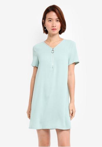 ZALORA green O Ring Shift Dress 52BCEAA14D0363GS_1