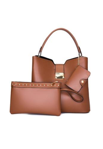 Lara brown Business Women's Elegant Plain PU Leather Zipper Handbag (3-piece Set) - Light Brown CBCD6AC73453A1GS_1