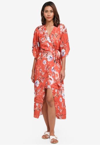 River Island orange Sarah Waisted Dress 127CDAA835FE76GS_1