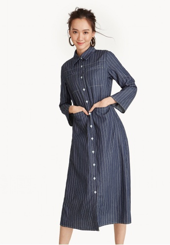Pomelo navy Striped Button Down Shirt Dress 5899CAAEC27BA8GS_1