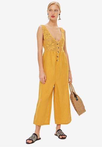 TOPSHOP yellow Crochet Button Jumpsuit 8D575AAD9151BEGS_1