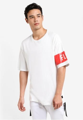 Flesh IMP white Banded Box Cut Oversized T-shirt FL064AA91FCEMY_1