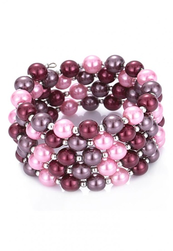 LOVENGIFTS pink and purple LOVENGIFTS Cecile Berries Pearl Crush Bracelet LO429AC63GKAMY_1