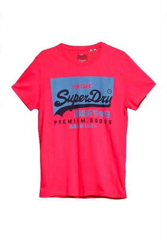 SUPERDRY pink Vintage Label Round Neck Tee 24E40AA279B7E6GS_1