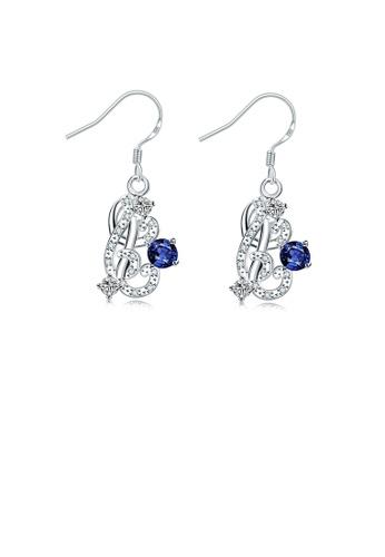 Glamorousky blue Fashion Pop Geometric Earrings with Blue Austrian Element Crystal 3081DACAF3C143GS_1