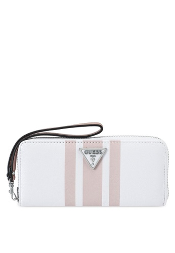 Guess white and multi Ambrose Sling Large Zip Around Wallet 9D464AC37C6285GS_1