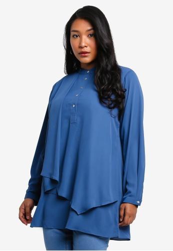 Ex'otico blue Plus Size Long Sleeve Overlap Long Blouse 5CA9FAAA3FEE6AGS_1