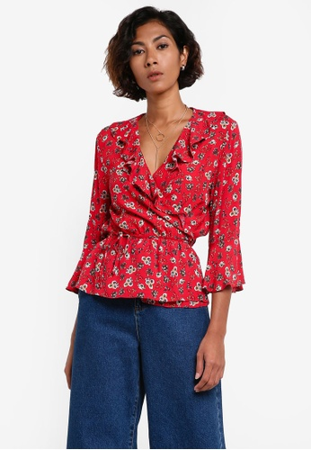 Mango red Ruffle Floral Print Blouse MA193AA0RIIQMY_1