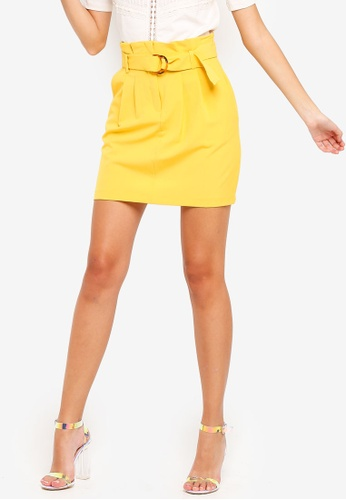 e53690e36e80 Miss Selfridge yellow Ochre Horn D-Ring Paperbag Skirt 4C121AA5E4002DGS 1