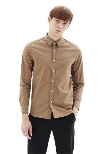 Life8 brown Formal Long-Sleeved Shirts-11153-Khaki B0720AAC90A2A9GS_1