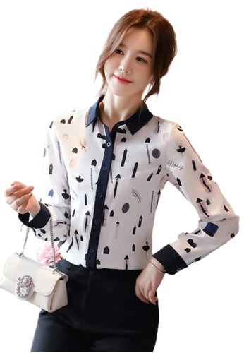 Halo white Printed Polo Neck Blouse 4F632AAB40208BGS_1