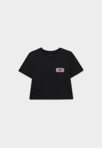 Pomelo black Sustainable Band Ticket Graphic Tee - Black 2D61AAA161BCB4GS_1