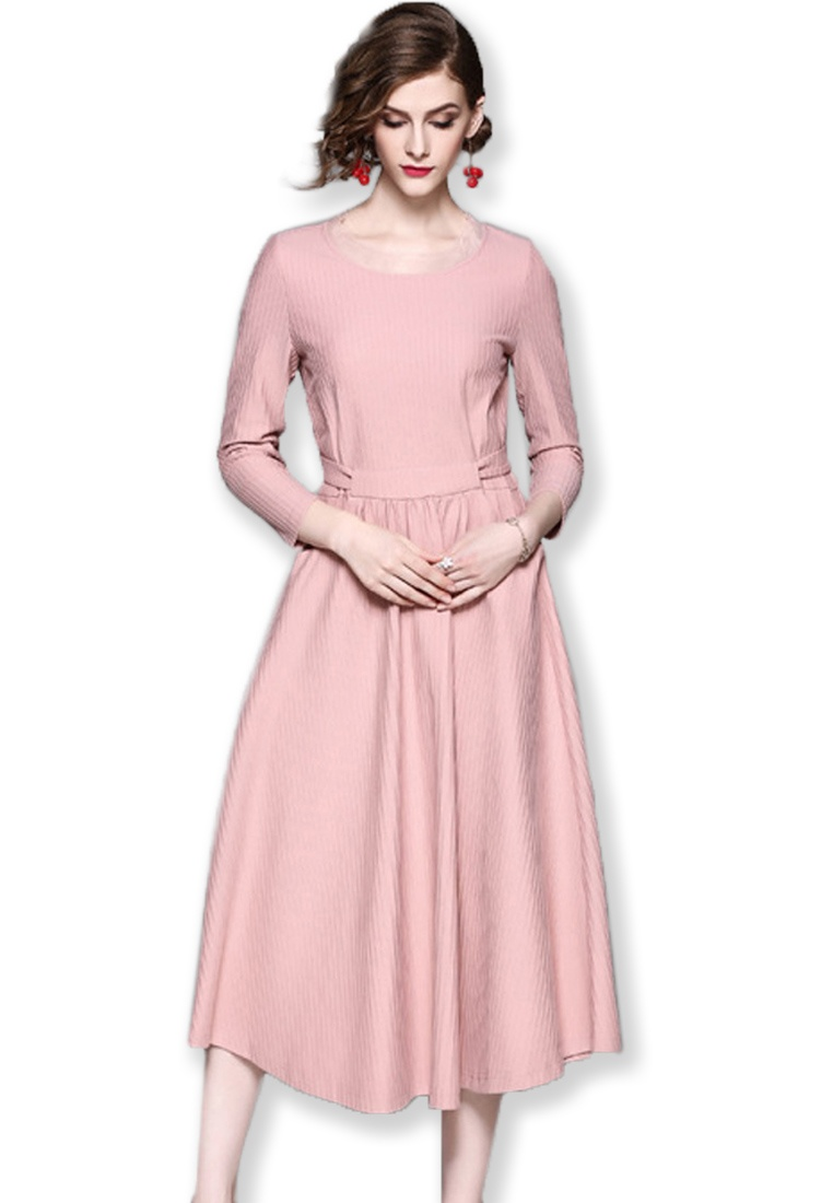 Midi W UA092014PI 2017 Long Flare Sleeves Dress Blue Sunnydaysweety F Pink P57qnXB