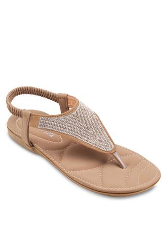 閃飾夾趾繞踝平底涼鞋, 女鞋,esprit taiwan 涼鞋