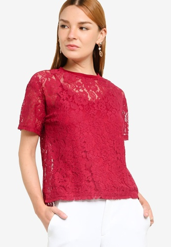 ZALORA OCCASION red 2-in-1 Short Sleeves Lace Top 65477AABDD5468GS_1