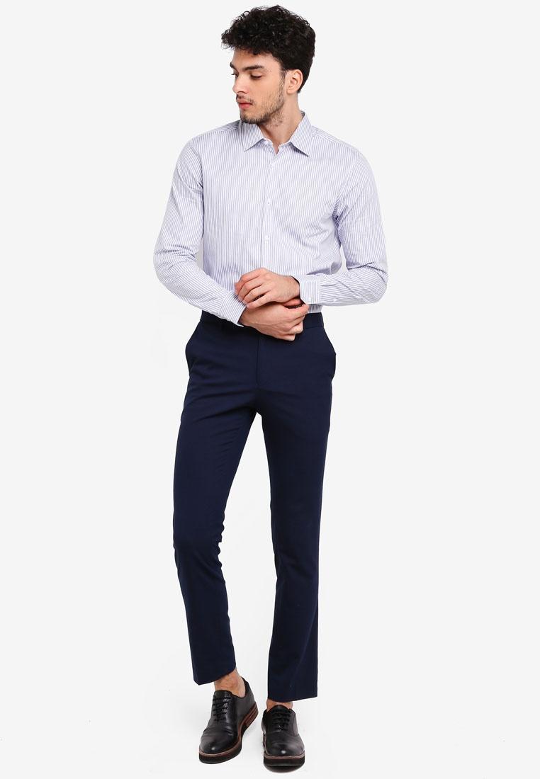 Stripe Burton Fit Dobby Slim Shirt Broken London Blue Menswear Blue v5qwgOxTn
