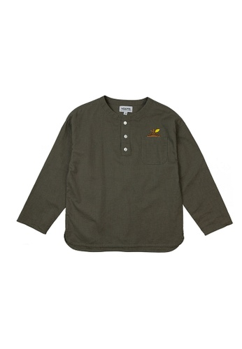 Vauva green Vauva Girls Nut Linen Casual Shirt - Green 05419KAF903F56GS_1
