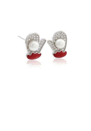 Glamorousky white 925 Sterling Silver Fashion Cute Christmas Gloves White Freshwater Pearl Stud Earrings with Cubic Zirconia 37B5EACA9EFF5FGS_1