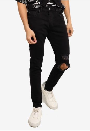 Mennace black Shay Ripped Skinny Jeans E9D0CAA8E9FBE1GS_1