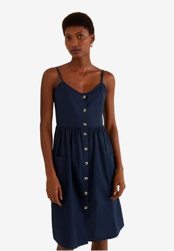 MANGO blue and navy Buttoned Dress 412ADAA8378AF9GS_1