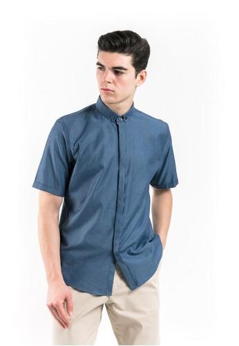 MANLY blue Manly Mattew Blue Short Sleeve Slim Fit Shirt 515E3AA92CC152GS_1